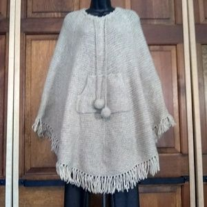 The Limited Hand Knit Wool Poncho